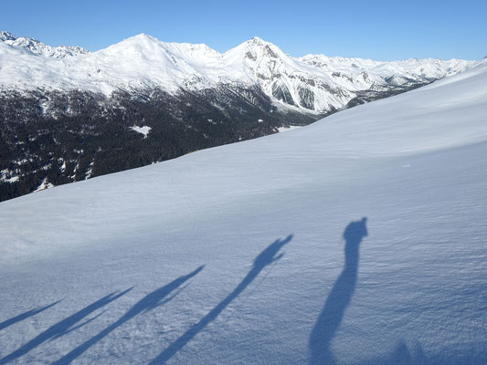 Auch hier erwartet uns perfektes Skigelände, ob das Timing heute stimmt?