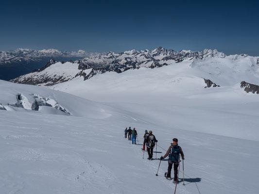 Monte Rosa Massiv, der Alphubel, die Mischabelgruppe, Matterhorn und Weisshorn sowie die Berner Klassiker sind einen Ausflug zm Dammastock mehr als wert