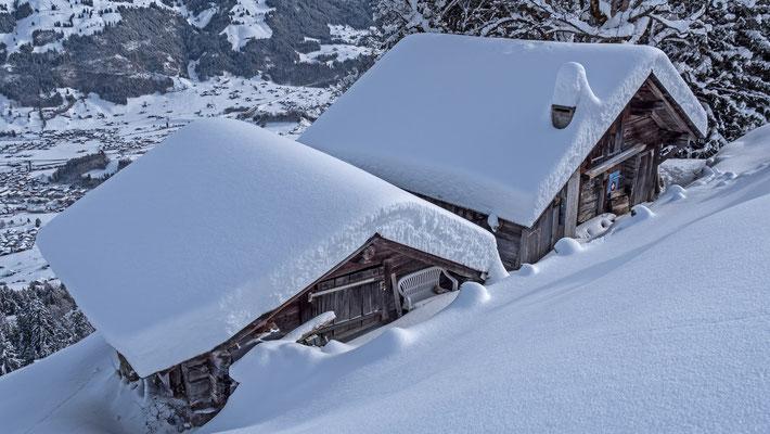 Zwei Alphütten auf 1400 M.ü.M. Die Schneehöhe auf den Dächern ist beachtlich