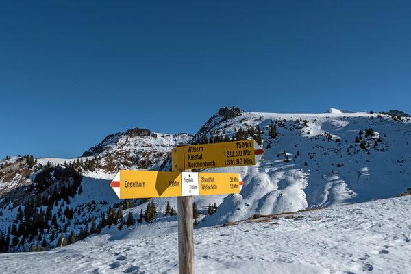 Links die Wätterlatte, in der Bildmitte die Standflue und knapp über der Aufstiegsroute der Gipfel vom Dreispitz