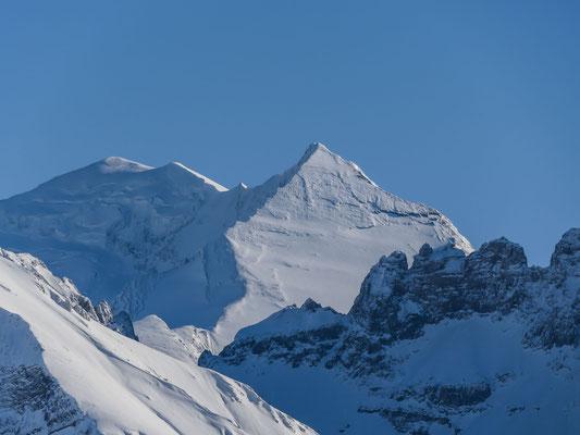 Ein letzter Blick zum Balmhorn und Altels. Die beiden Klassiker unter den hiesigen Gipfeltouren weisen meist erst im Frühling günstige Verhältnisse auf