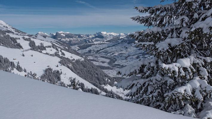 Montag 18. Januar, das Kandertal im Winterkleid. Ein Prachtstag mit Blick zum Niederhorn und der Brienzer Rothorn Kette. Im Vordergrung links die Hänge von Zismas, vielleicht unser Ziel von morgen?