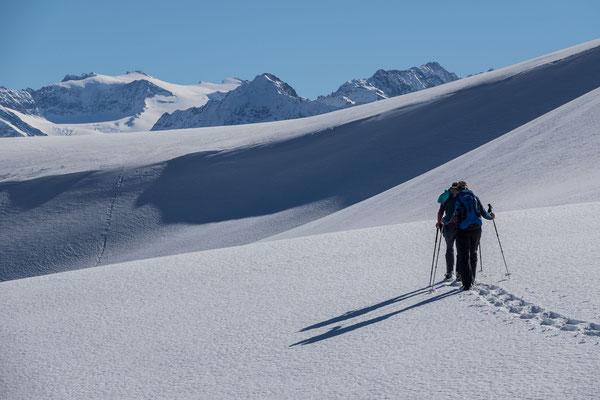 Kurz darauf folgt, was die Schneeschuhtouren vom Bergvagabund häufig auszeichnen; tolles Wandergelände und ein Hauch von Natur pur, hier mit Weitsicht zum Eggstock, Dammastock und Rhonestock
