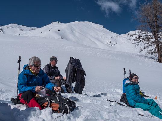 Höchste Zeit für einen Energieschub, nach einem Lärchenwald öffnet sich das Gelände hin zum Gipfelhang