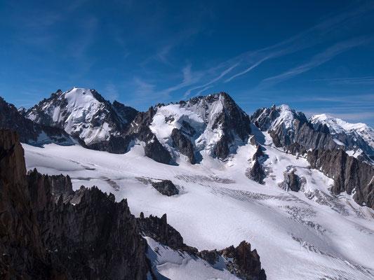 Die Aig. d`Argentière, die Chardonnet, Vert und der Mont Blanc von Links