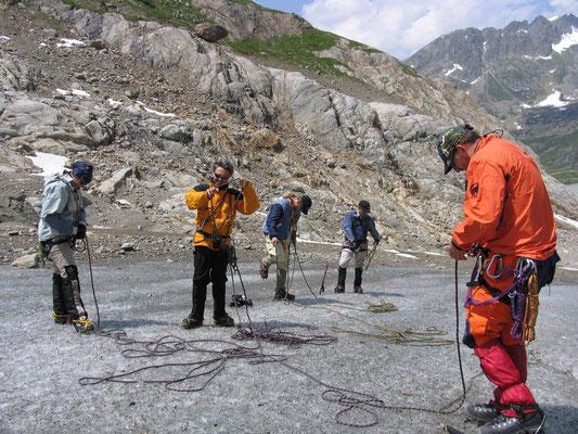 Anseilen auf dem Steingletscher