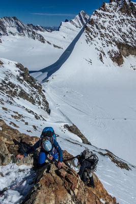 Noch eine der wenigen Kletterstellen, dann liegt auch der Abstieg hinter uns