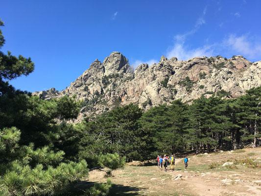 Bavellapass, wir steuern für die ersten Moves einen Klettergarten an, darüber erhebt sich der Arête de Zonza an der Punta di l`Acellu