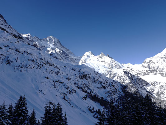 Lauterbrunner Breithorn und Tschingelhorn geben einen Anhaltspunkt über unseren Ausflug