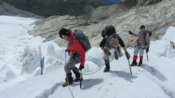 Seilhandhabung in mässig steilem Gelände