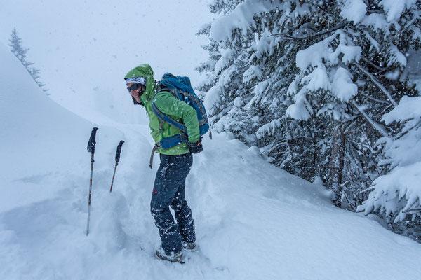 Pausenlos schneits, ca 40 cm sind allein an diesem Tag gefallen, die Neuschneemenge der letzten 3 Tage liegt bei knapp einem Meter
