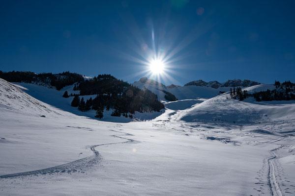 Der mächtige Lawinenniedergang vom Februar ist wieder gut zugeschneit. Das Ziel unseres Aufstiegs liegt gleich links vom felsigen Elsighorn. Links meine Spur vom Vortag durch die schmale Rinne linkerhand