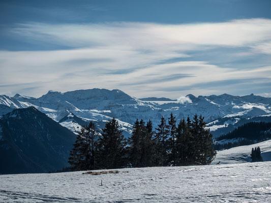 Steghorn, Grossstrubel, rechts darunder der Ammertenspitz, Wildstrubel Mittelgipfel und der Lenker Strubel schliessen dieses Massiv ab. Es folgt die Plaine Morte mit den Gipfeln Gletscherhore, Wisshore und dem auffälligen Rohrbachstein