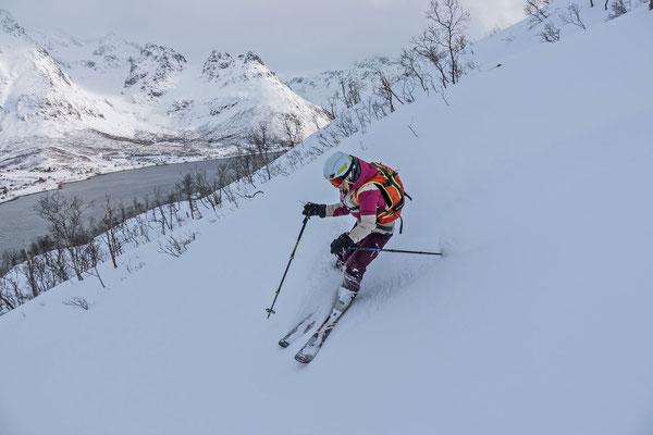 Nathalie im Staudenpowder bis zum Fjord hinunter