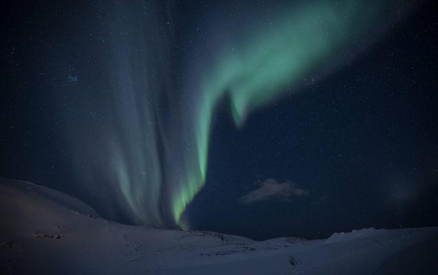 Und nochmals erleben wir ein Nordlichtspektakel und dank eines Insidertipps gelangen wir auf diese von Störlichtern verschonte Anhöhe
