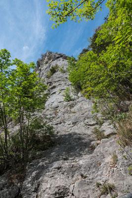 3 Seillängen zieht der Pfeiler von Cascade in die Höhe, und dies bei moderaten Schwierigkeiten und Routen im 4., 5. oder 6. Grad