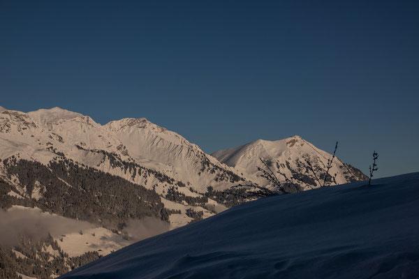 Niesen, und Drunegalm werden im Winter des öfteren mit Skis bestiegen, während das Fromberghore in der Mitte äusserst selten Besuch von Skitourengehern erhält