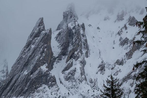 Beinahe Schwarz-Weiss; der Rosenlauistock und die Tannenspitze. Die kleinsten Gipfel der Engelhörner heben sich wegen dem Grauen Deckel von den grösseren Artgenossen deutlich ab