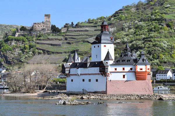 Le château de Pfalzgrafenstein sur lîle de Falkenau près de Kaub