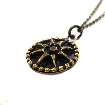 THEFT - silver×brass SUN motif Necklace top