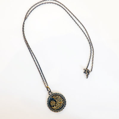 THEFT - silver×brass MOON motif Necklace top