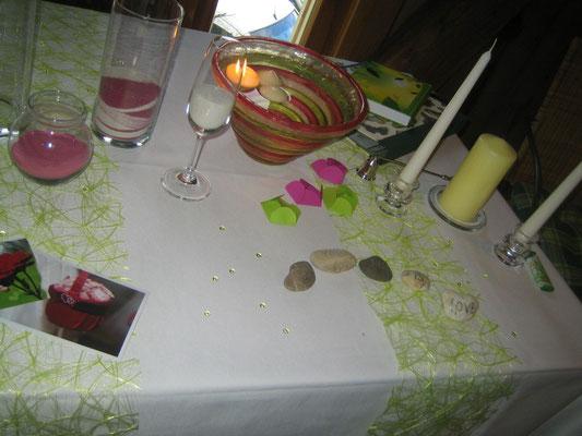 Sandritual, Wunschblüten und Wunschsteine und Hochzeitskerze