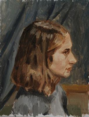 Portrait. By Nicolas Borderies, oil on board, 35 x 27 cm, 2014. 3H Allaprima from life.
