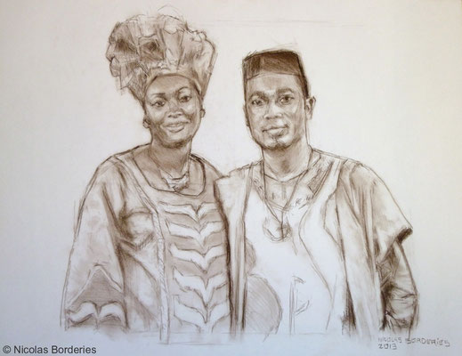 Couple de Congolais. By Nicolas Borderies, pastel pitt on paper, 50 x 65 cm, 2013.