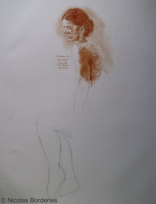 Académie. By Nicolas Borderies, Graphite and sanguine on paper, 65 x 50 cm, 2001-2005.