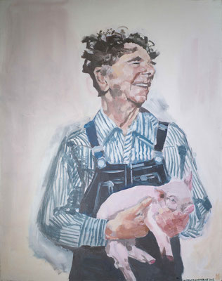 Le gars au cochon, By Nicolas Borderies, oil on canvas, 92 x 73 cm, 2007.