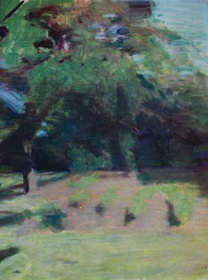 Arbre 29. By Nicolas Borderies, oil on canvas, 160 x 120 cm, 2019.