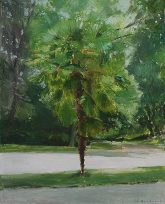 Arbre 12. By Nicolas Borderies, oil on canvas, 80 x 65 cm, 2018.