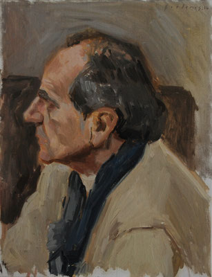 Portrait de Monsieur C, By Nicolas Borderies, oil on board, 35 x 27 cm, 2014. 3H Allaprima from life.