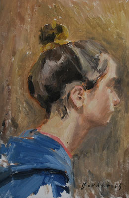 Portrait de Mademoiselle A, By Nicolas Borderies, oil on board, 35 x 24 cm, 2014. 3H Allaprima from life.