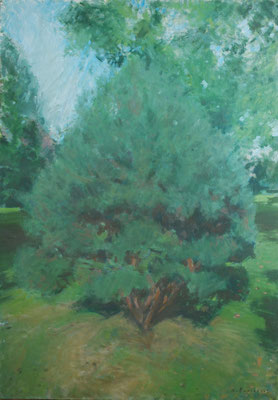 Arbre 5. By Nicolas Borderies, oil on canvas, 92 x 65 cm, 2018.