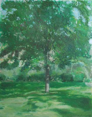 Arbre 3. By Nicolas Borderies, oil on canvas, 92 x 73 cm, 2018.