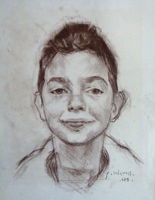 Portrait de garçon. By Nicolas Borderies, graphite on paper, 29,7x 21 cm, 2009.