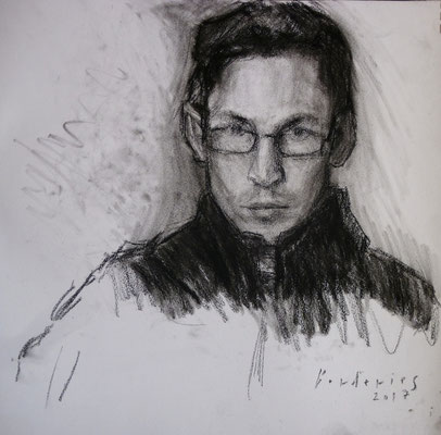 Autoportrait. By Nicolas Borderies, charcoal on paper, 32 x 30 cm, 2017.