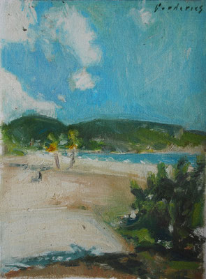 oil sketch on canvas by Nicolas Borderies, 22 x 16 cm, december 2018. Outdoor allaprima in Santiago de Cuba