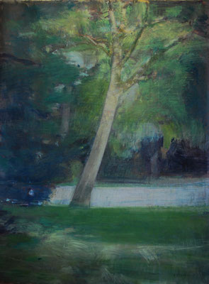 Arbre 17. By Nicolas Borderies, oil on canvas, 160 x 120 cm, 2019.