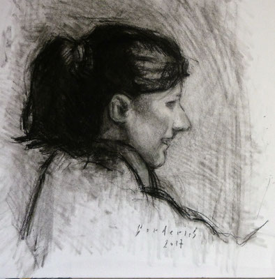 Portrait de Mademoiselle H. By Nicolas Borderies, charcoal on paper, 32 x 30 cm, 2017.