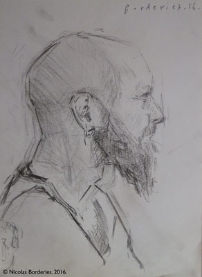 Portrait de Monsieur D. By Nicolas Borderies, graphite on paper, 29,7x 21 cm, 2016.
