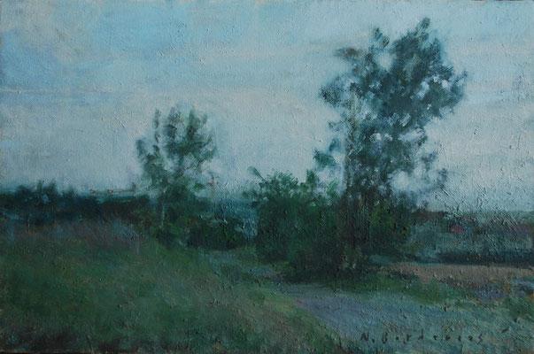 Paysage 4. By Nicolas Borderies, oil on canvas, 27 x 41 cm, 2019.