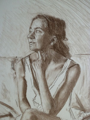 Etude 2 du portrait de Mademoiselle F. By Nicolas Borderies, pastel pitt on paper, 65 x 50 cm, 2016. (detail)