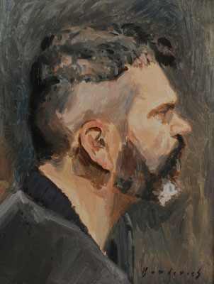 Portrait de Monsieur D, By Nicolas Borderies, oil on board, 35 x 27 cm, 2014. 3H Allaprima from life.