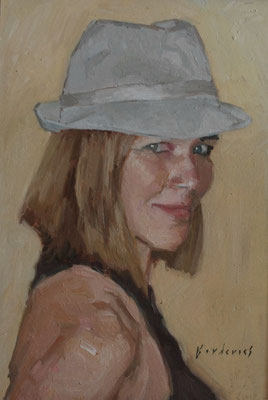 Portrait de Mademoiselle S, By Nicolas Borderies, oil on board, 30 x 22,5 cm, 2012.
