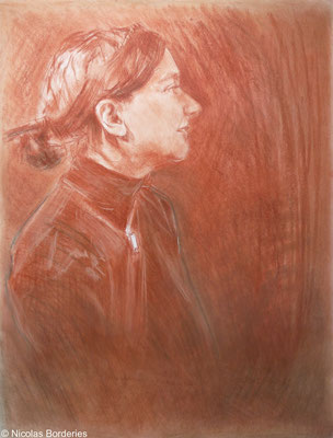 Mademoiselle F de profil. By Nicolas Borderies, sanguine, pierre noire and white art chalk, 65 x 50 cm, 2015.