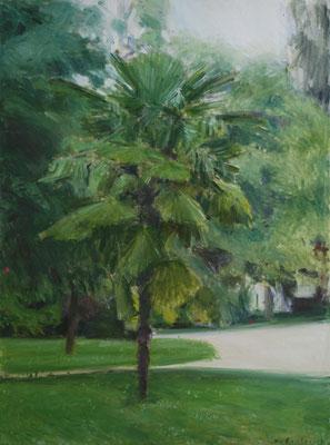 Arbre 11. By Nicolas Borderies, oil on canvas, 80 x 60 cm, 2018.