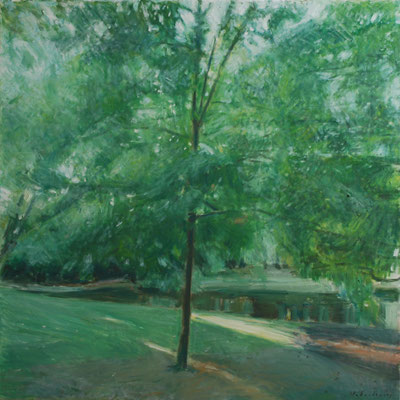 Arbre 7. By Nicolas Borderies, oil on canvas, 80 x 80 cm, 2018.