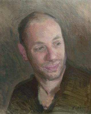 Portrait de Monsieur P, By Nicolas Borderies, oil on canvas, 46 x 38 cm, 2018.